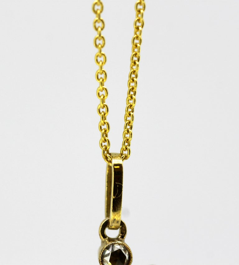 Victorian 15k Gold Pendant With Diamonds With A 14k Gold