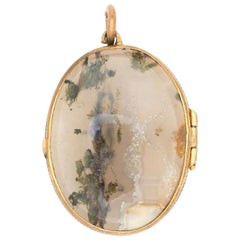 Victorian 15k Yellow Gold, Scottish Agate and Rock Crystal Locket, Late 1800s