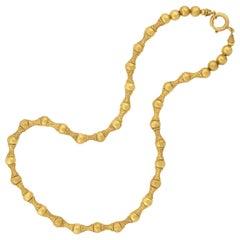 Victorian 15kt Gold Etruscan Wirework Alternating Bead Necklace