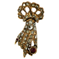 Victorian 15kt Gold Hand Brooch with Diamonds and Rubies, Made in England 1880s