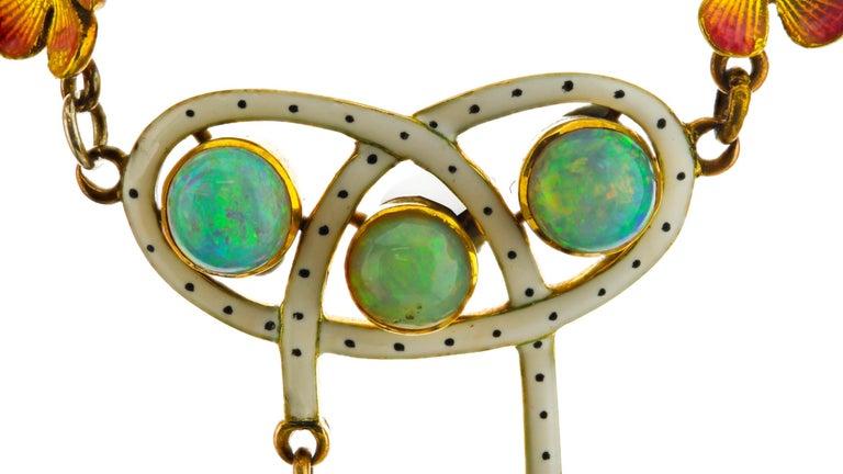 Art Nouveau 18 Karat Gold Opal Necklace, circa 1870s For Sale 2