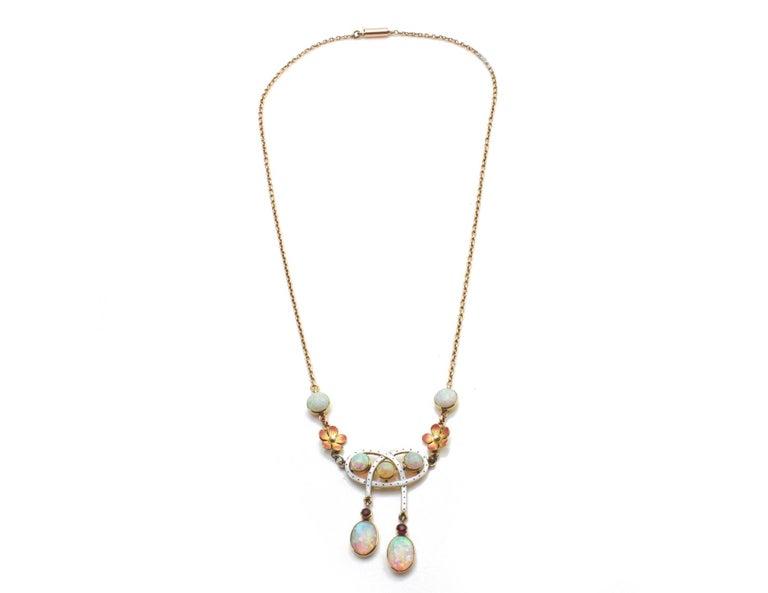 Art Nouveau 18 Karat Gold Opal Necklace, circa 1870s For Sale 3