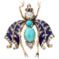 Victorian 15kt Yellow Gold Brooch in the Shape of a Bug, Turquoise and Diamonds