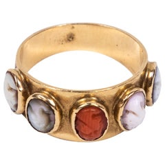 Victorian 16 Karat Gold Cigar Band Ring with 5 Multi-Color Carved Cameos