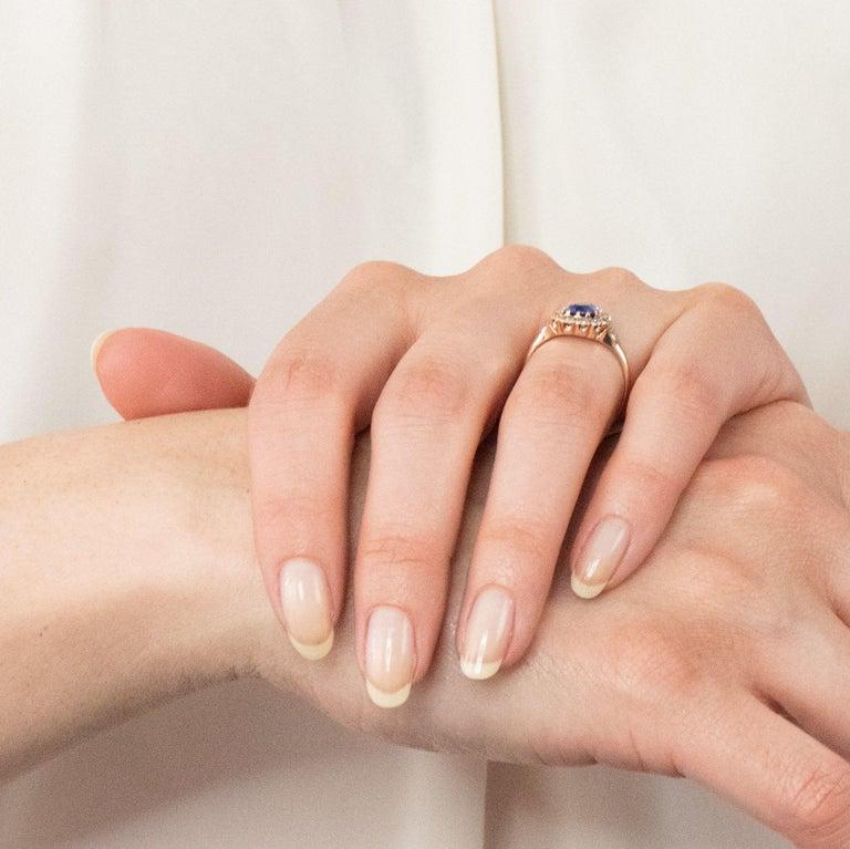 Victorian 1.60 Carat No Heat Kashmir Sapphire Diamond 14 Karat Gold Ring AGL GIA 6