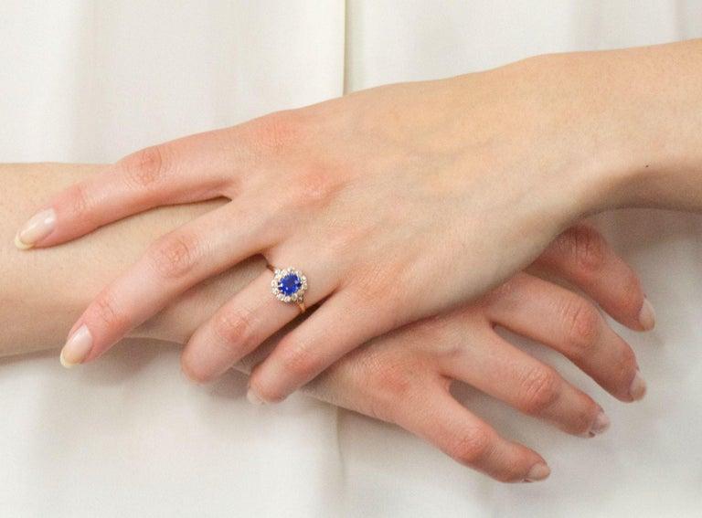 Victorian 1.60 Carat No Heat Kashmir Sapphire Diamond 14 Karat Gold Ring AGL GIA 4