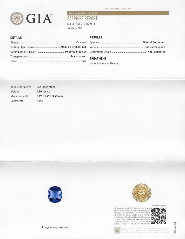 Victorian 1.60 Carat No Heat Kashmir Sapphire Diamond 14 Karat Gold Ring AGL GIA 5