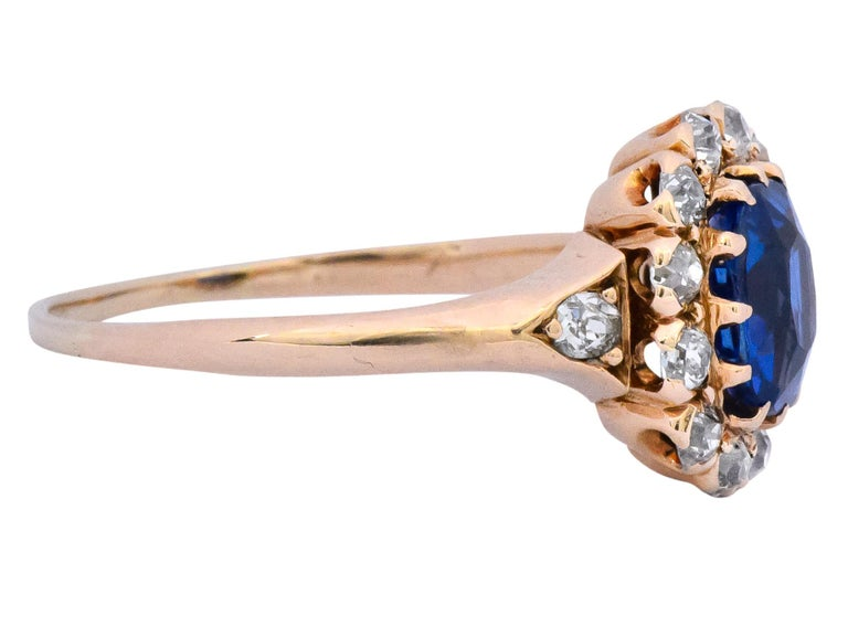 Oval Cut Victorian 1.60 Carat No Heat Kashmir Sapphire Diamond 14 Karat Gold Ring AGL GIA