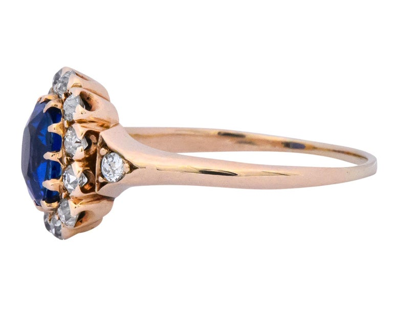 Women's or Men's Victorian 1.60 Carat No Heat Kashmir Sapphire Diamond 14 Karat Gold Ring AGL GIA