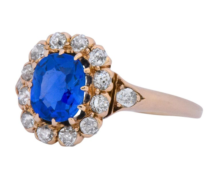 Victorian 1.60 Carat No Heat Kashmir Sapphire Diamond 14 Karat Gold Ring AGL GIA 1