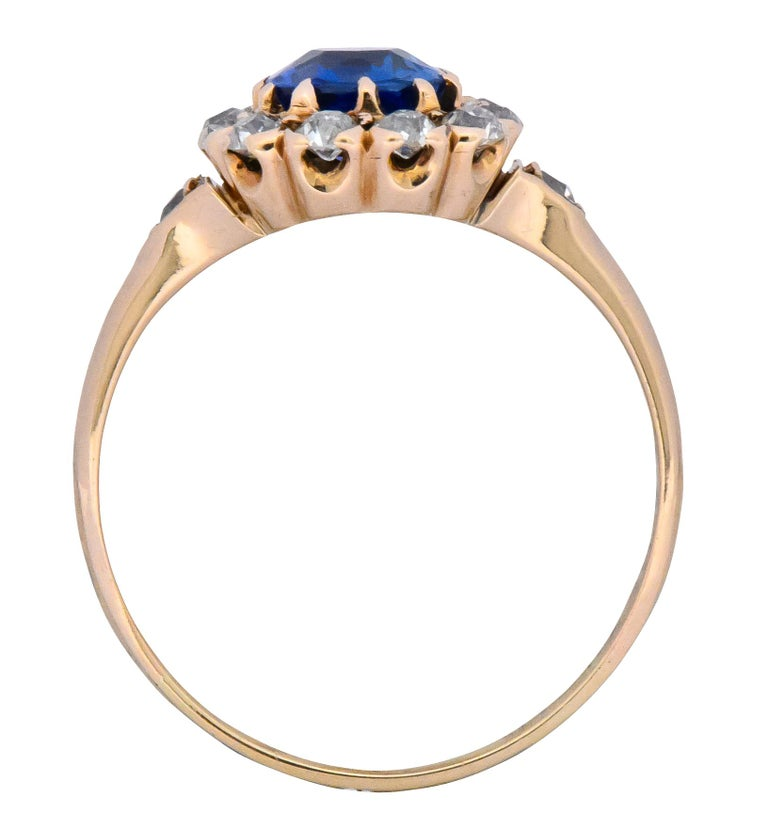 Victorian 1.60 Carat No Heat Kashmir Sapphire Diamond 14 Karat Gold Ring AGL GIA 2