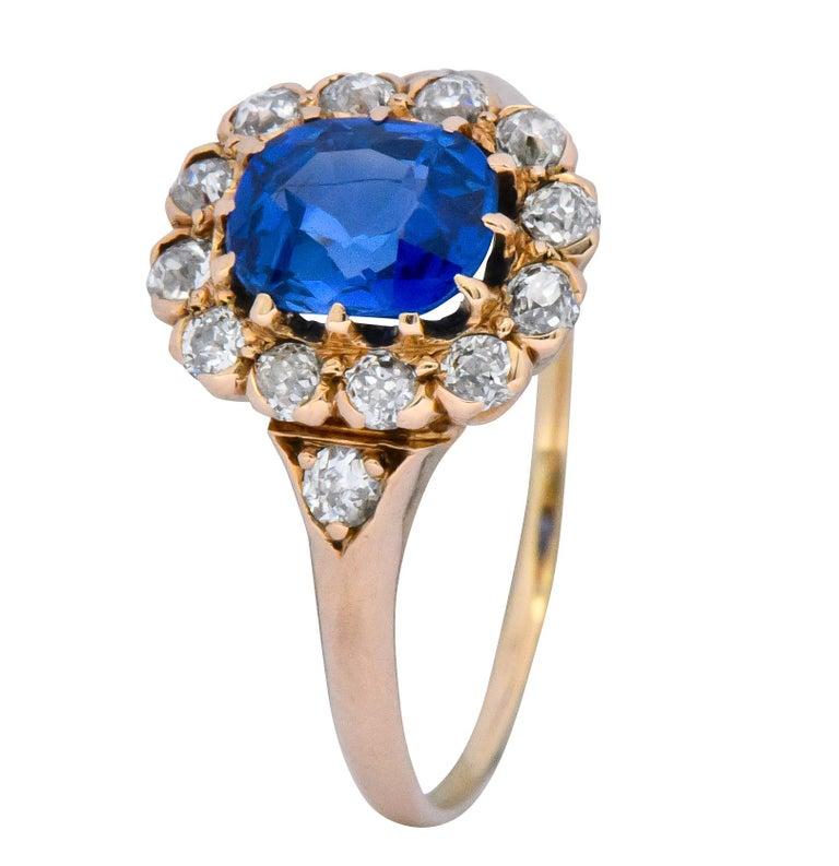 Victorian 1.60 Carat No Heat Kashmir Sapphire Diamond 14 Karat Gold Ring AGL GIA 3