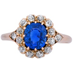 Victorian 1.60 Carat No Heat Kashmir Sapphire Diamond 14 Karat Gold Ring AGL GIA