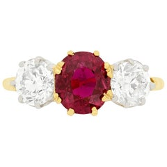 Victorian 1.60 Carat Ruby and Diamond Three-Stone Ring, circa 1900s