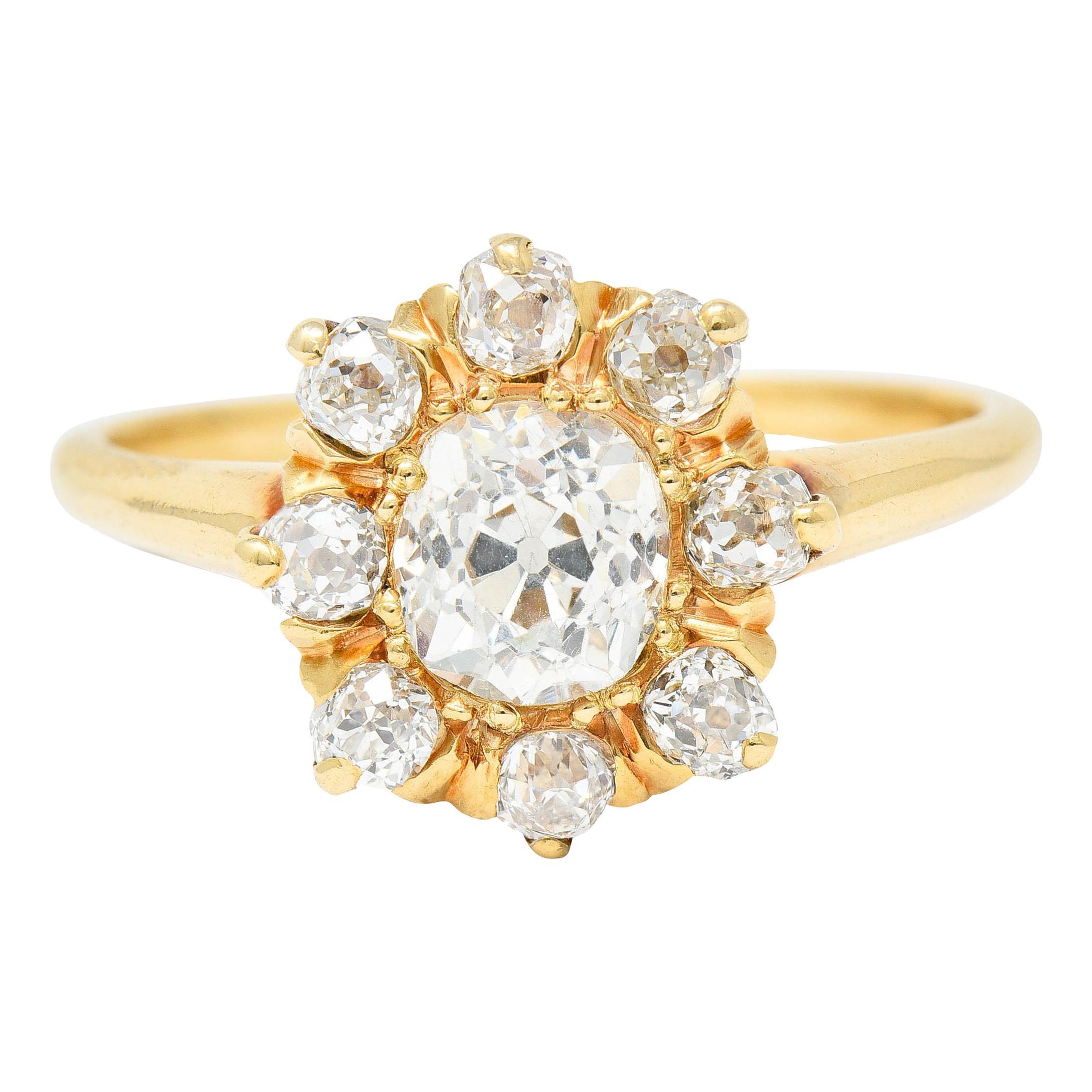 Victorian 1.60 Carats Old Mine Diamond 14 Karat Gold Cluster Ring