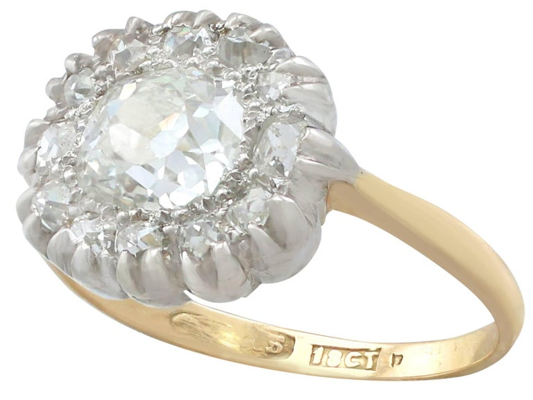 Victorian 1.63 Carat Diamond Gold Platinum Cluster Ring In Excellent Condition For Sale In Jesmond, Newcastle Upon Tyne