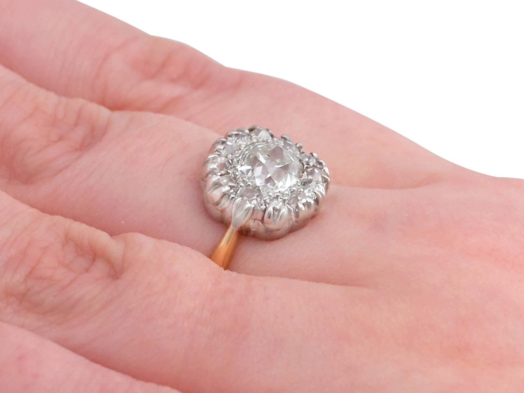 Victorian 1.63 Carat Diamond Gold Platinum Cluster Ring at 1stdibs