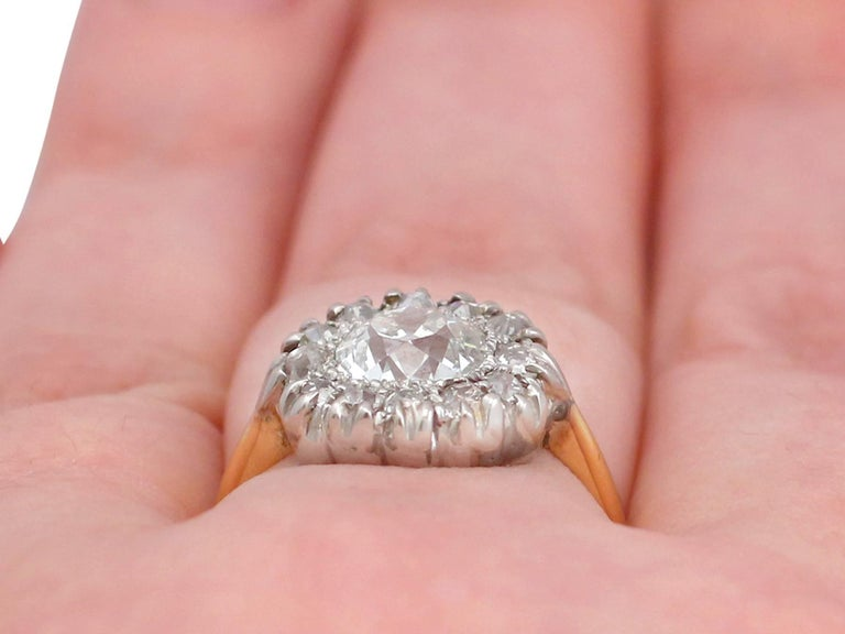 Victorian 1.63 Carat Diamond Gold Platinum Cluster Ring For Sale 4