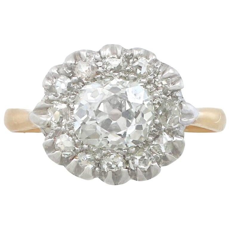 Victorian 1.63 Carat Diamond Gold Platinum Cluster Ring