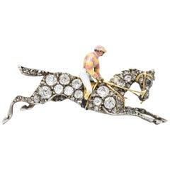 Victorian 1.65 Carat Diamond Enamel Silver-Topped 14 Karat Gold Brooch Pendant