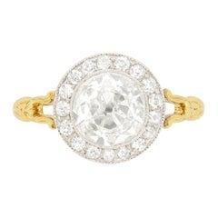 Victorian 1.67 Carat Diamond Halo Engagement Ring, circa 1900s