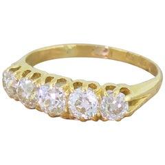 Victorian 1.69 Carat Old Cut Diamond Five-Stone Ring