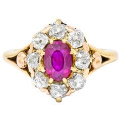 Victorian 1.70 Carat Ruby Diamond 14 Karat Gold Cluster Ring