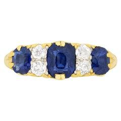 Victorian 1.70 Carat Sapphire and Diamond Ring, circa 1880s