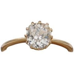Victorian 1.71 Carat Old Mine Cut Diamond Solitaire Ring I/J VVS