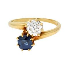 Victorian 1.75 Carats Diamond No Heat Sapphire 18 Karat Gold Bypass Ring GIA