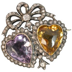 Victorian 18 Carat Gold Amethyst Citrine and Old Cut Diamond Two Hearts Brooch