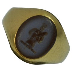Victorian 18 Carat Gold and Carnelian Intaglio Signet Seal Ring