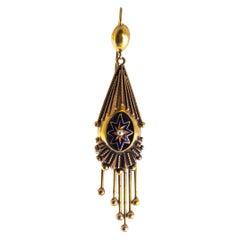 Victorian 18 Carat Gold and Enamel Drop Earrings