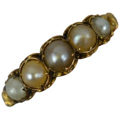 Victorian 18 Carat Gold and Five Pearl Stack Ring