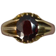 Victorian 18 Carat Gold and Garnet Solitaire Gypsy Ring