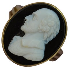 Victorian 18 Carat Gold and Hardstone William Shakespeare Signet Ring