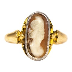 Victorian 18 Carat Gold and Platinum Cameo Ring