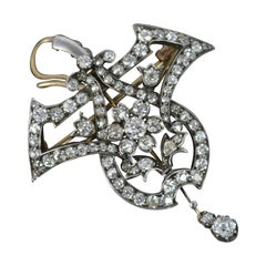 Victorian 18 Carat Gold and Silver 2.85 Carat Vs Old Cut Diamond Pendant Brooch
