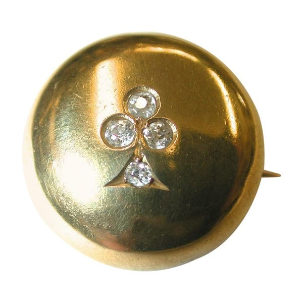 Victorian 18 Carat Gold Button Shaped Brooch Set with 4 Diamonds, circa 1880