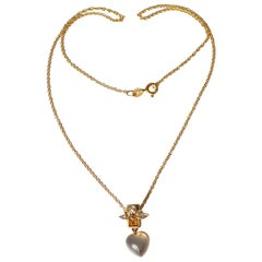 Victorian 18 Carat Gold Diamond and Moonstone Heart Pendant