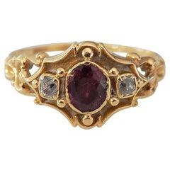 Victorian 18 Carat Gold Garnet Diamond Ring