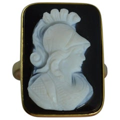 Victorian 18 Carat Gold Hardstone Cameo Ring of Male Warrior