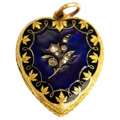 Victorian 18 Carat Gold Large Locket with Rose Cut Diamonds and Enamel