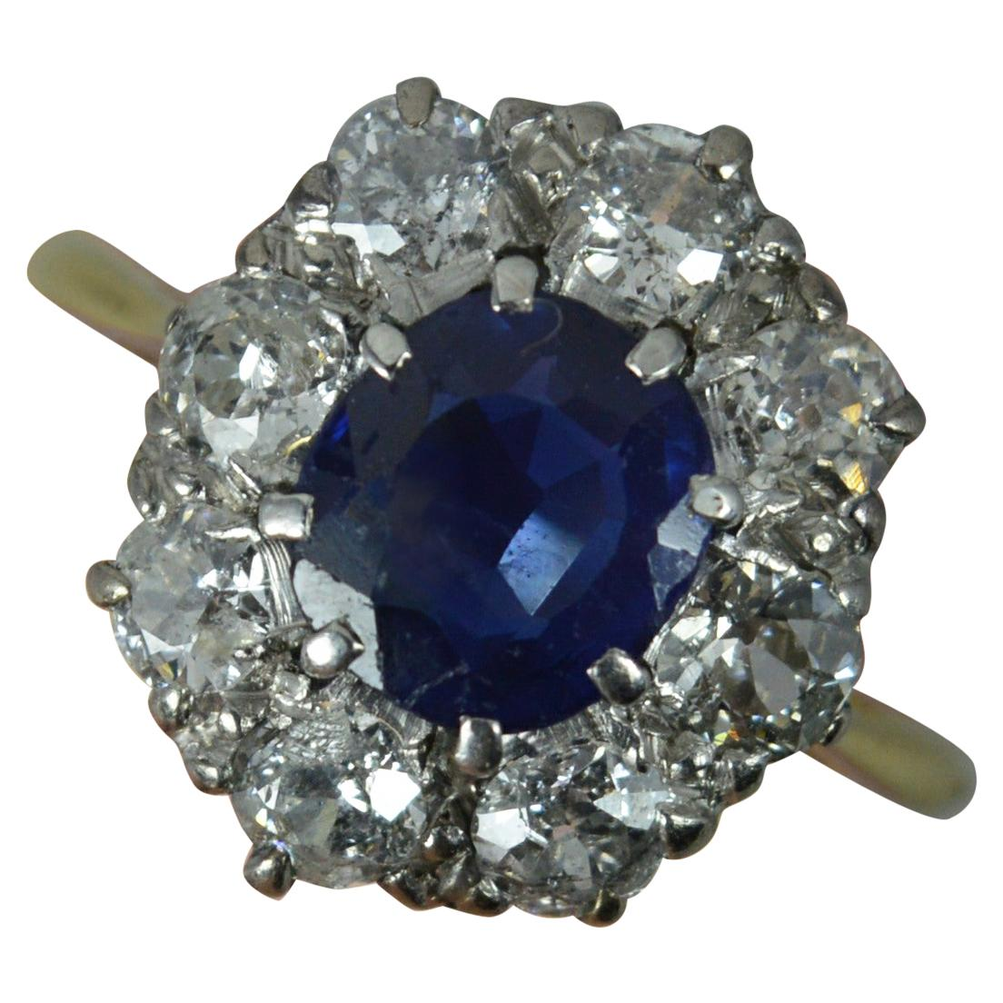 Victorian 18 Carat Gold No Heat Sapphire and Old Cut Diamond Cluster Ring