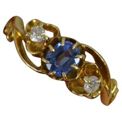 Victorian 18 Carat Gold Old Cut Diamond and Ceylon Sapphire Trilogy Ring