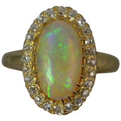 Victorian 18 Carat Gold Opal Old Cut Diamond Ring