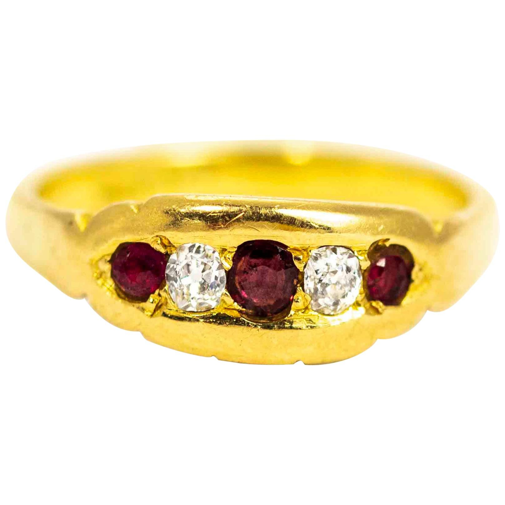 Victorian 18 Carat Gold Ruby and Diamond Five-Stone Ring