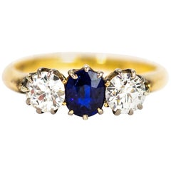 Victorian 18 Carat Gold Sapphire and Diamond Three-Stone Ring