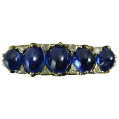 Victorian 18 Carat Gold Sapphire Cabochon Diamond Five-Stone Stack Ring