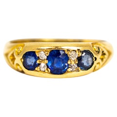 Victorian 18 Carat Gold Sapphire and Diamond Ring
